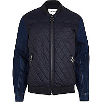 Navy denim sleeve quilted bomber jacket