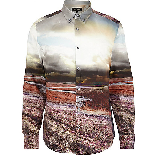 Cream scenic print long sleeve shirt