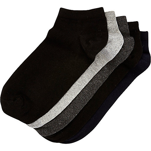 Black and grey trainer socks pack