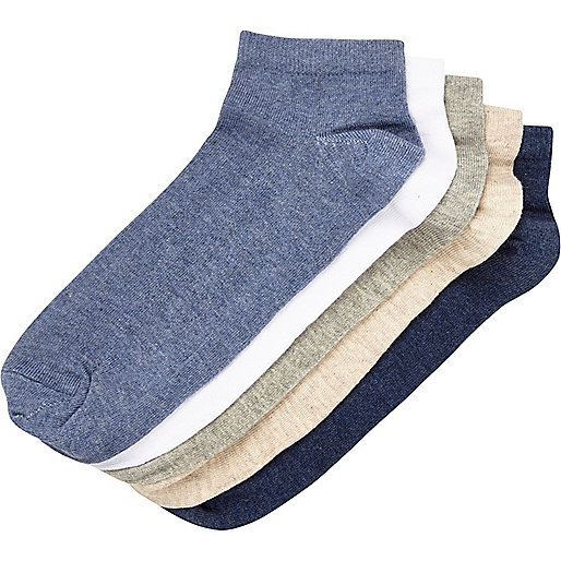 Blue marl trainer socks pack