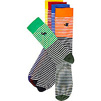 Mixed stripe animal motif socks pack