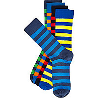 Blue coloured stripe socks pack