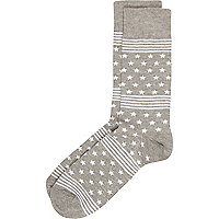 Grey stars and stripes ankle socks