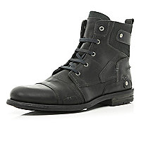 Dark grey contrast panel military boots