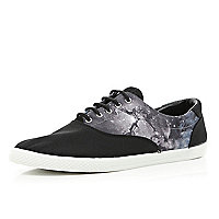 Black cosmic print panel plimsolls