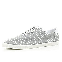 Grey polka dot plimsolls