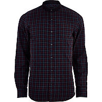 Purple tartan grandad collar shirt