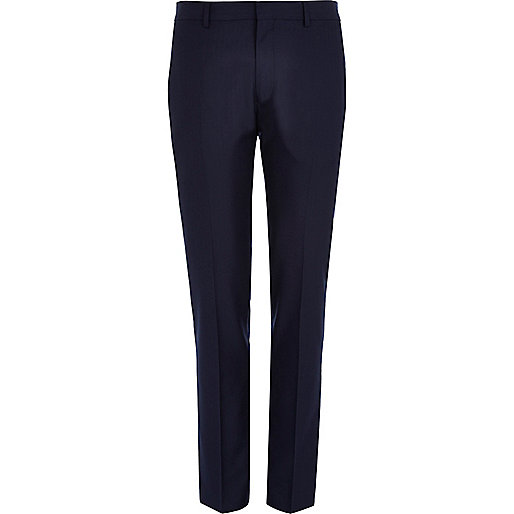 Navy herringbone smart skinny trousers