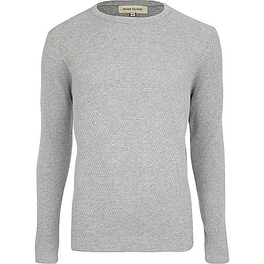 Grey textured crew neck jumper