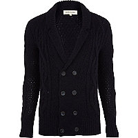Navy double breasted cable knit cardigan