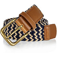 Navy blue and ecru webbing belt