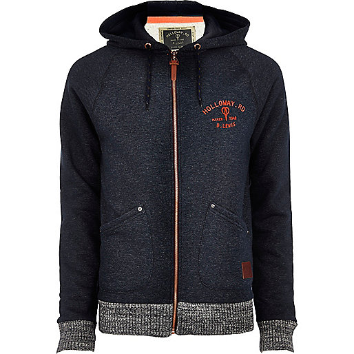 Navy Holloway Road contrast trim hoodie