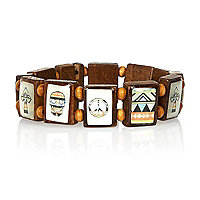 Brown aztec skull tile bracelet