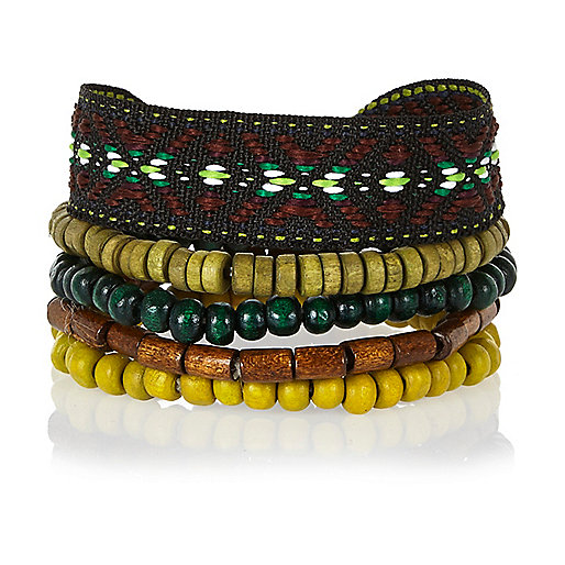 Dark green mixed bracelet pack