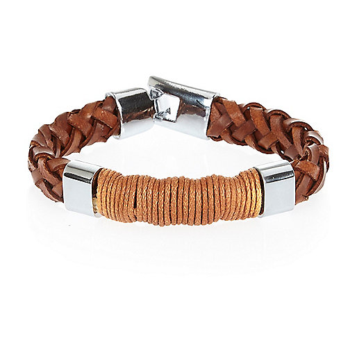 Brown plaited bracelet