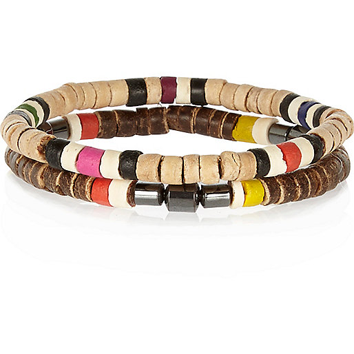 Brown colour block bead bracelets