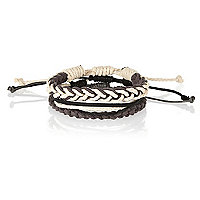Dark grey woven rope bracelet pack