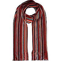 Dark red stripe tassel trim scarf