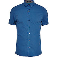 Cobalt blue short sleeve shirt