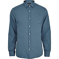 Dark green long sleeve poplin shirt
