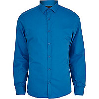 Cobalt blue long sleeve poplin shirt