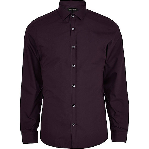 Dark purple long sleeve poplin shirt