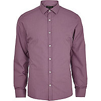 Dark lilac long sleeve poplin shirt