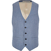 Light blue single breasted waistcoat