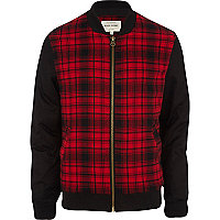Red tartan contrast sleeve bomber jacket