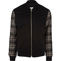 Black tartan sleeve bomber jacket