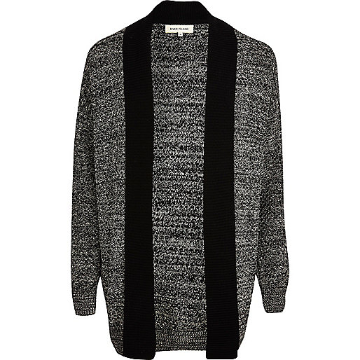 Black textured unfastened cardigan