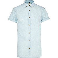 Light blue acid wash Oxford shirt
