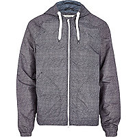 Grey textured hooded bomber jacket