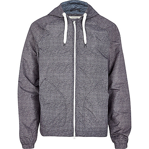 Grey textured hooded bomber jacket