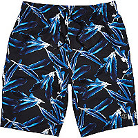 Black feather print long swim shorts