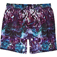 Purple crystal print mid length swim shorts