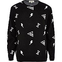 Black and white symbol print oversized jumper