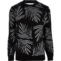 Black and white palm leaf print jumper