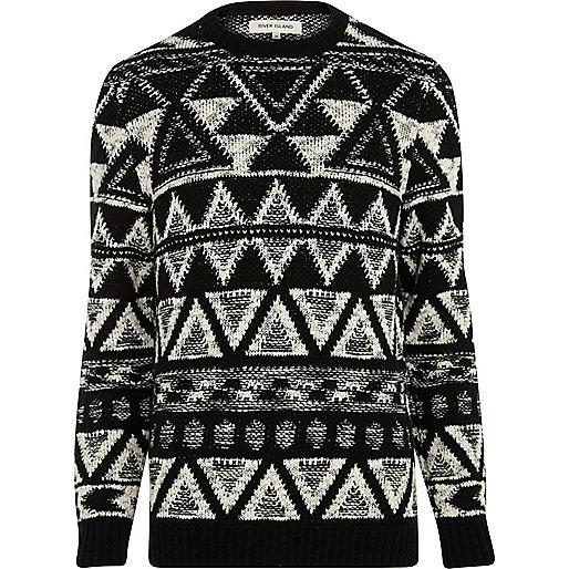 Black and white aztec jumper