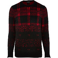 Red brushed check jumper