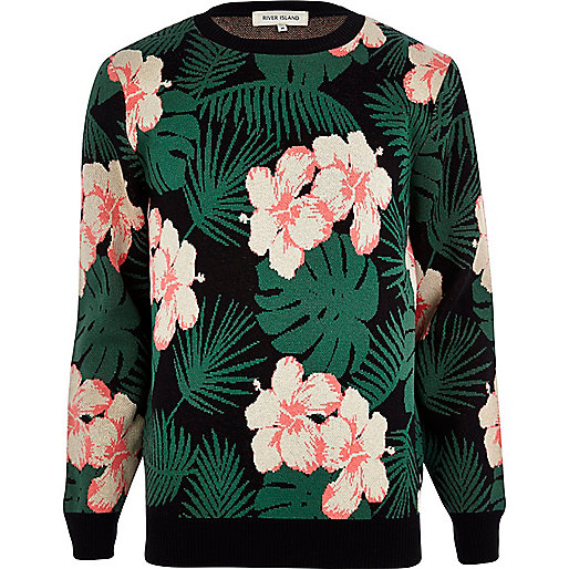 Black floral Hawaiian print jumper