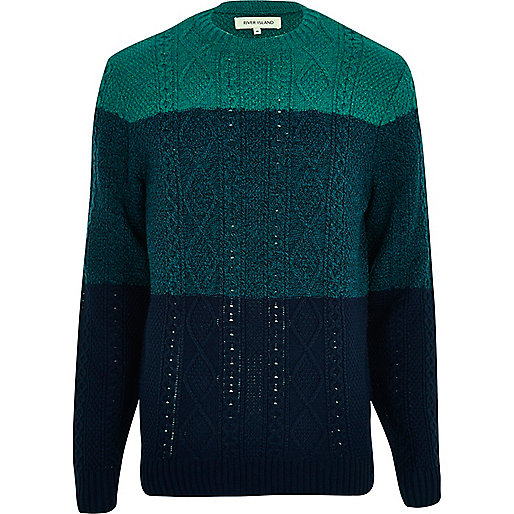 Green cable knit colour block jumper