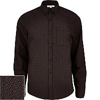 Dark red ditsy print long sleeve shirt