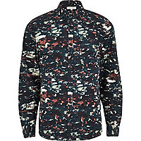 Green blurred camo print long sleeve shirt