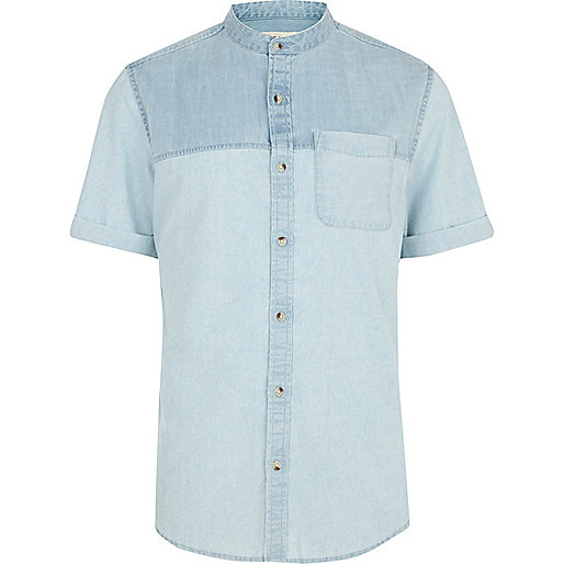 Light wash two-tone denim shirt