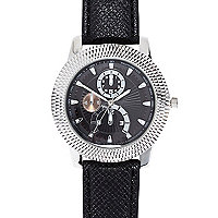 Black textured metal watch