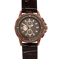 Brown croc and bronze tone watch