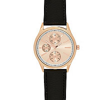 Black rose gold tone face watch