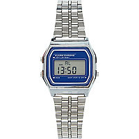 Silver tone digital bracelet watch
