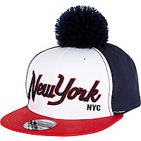 White New York pom pom trucker hat